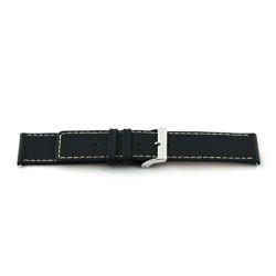 Klockarmband i äkta läder svart 22mm EX-J43