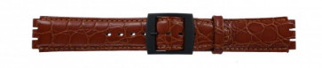 Klockarmband för Swatch krokodilmönstrat brunt 17mm PVK-SC10.03