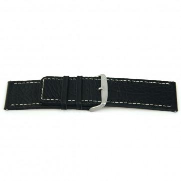 Klockarmband i äkta läder svart med vit söm 26mm EX-H79