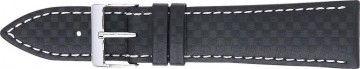 Karbonrem black med vit söm 24mm PVK-321
