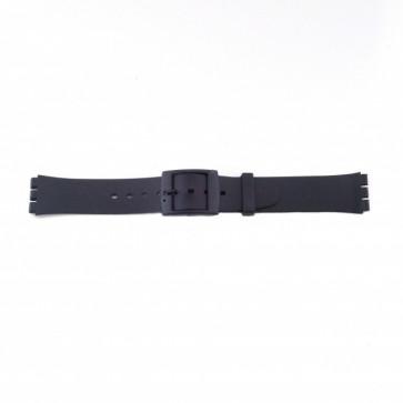 Plastrem för Swatch svart smal version 17mm PVK-P51