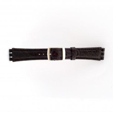Rem för Swatch Äkta Läder mörkbrunt 19mm 21412