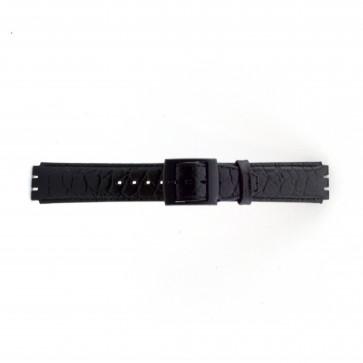 Rem för Swatch krokodilmönstrat svart 17mm PVK-SC10.01