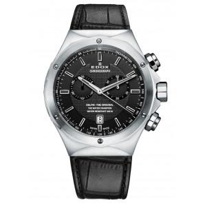 Edox klockarmband 10107 Läder Svart + sömmar svart