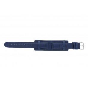 Klockarmband 61325.55.16 Läder Blå 16mm + sömmar blå