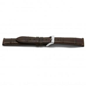 Klockarmband Läder Alligatormönstrat brunt 22mm EX-H334