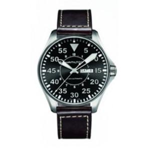 Klockarmband Hamilton H64715535 Läder Mörk brun 22mm