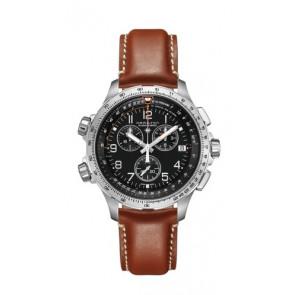Klockarmband Hamilton H77912535 Läder Brun 22mm