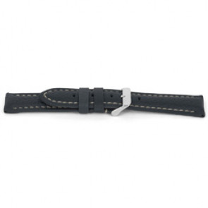Klockarmband H080 XL Läder Grå 22mm + sömmar vitt
