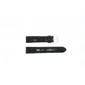 Lorus klockarmband 19MM Läder Svart 19mm + sömmar svart