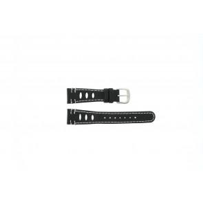 Lorus klockarmband 19x14 Läder Svart 19mm + sömmar vitt