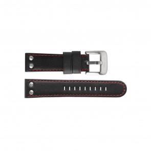 TW Steel klockarmband TW411 / TWB411 Läder Svart 24mm + sömmar rött