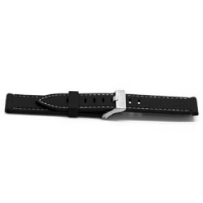 Klockarmband Gummi 22mm Svart + sömmar vitt EX XH18