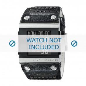 Armani klockarmband  AX1066 Läder Svart + sömmar svart