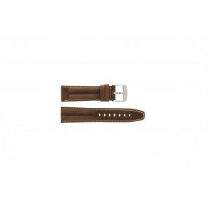 Camel klockarmband 6720-6729 / 6760-6769 Läder Brun 22mm + sömmar vitt