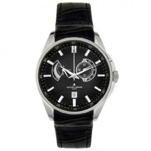Jacques Lemans klockarmband G175 Läder Svart 22mm + sömmar svart