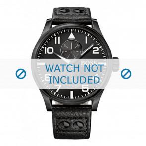 Hugo Boss klockarmband HB-88-1-34-2733 / HB1513083 Läder Svart 24mm + sömmar svart