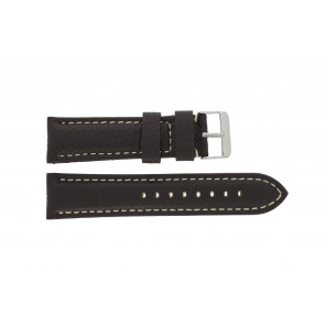 Klockarmband I038 XL Läder Mörk brun 24mm + sömmar vitt