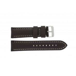 Klockarmband H038 XL Läder Mörk brun 22mm + sömmar vitt
