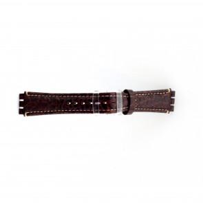 Klockarmband i äkta läder for Swatch krokodilmönstrat brunt 19mm ES- 2.02