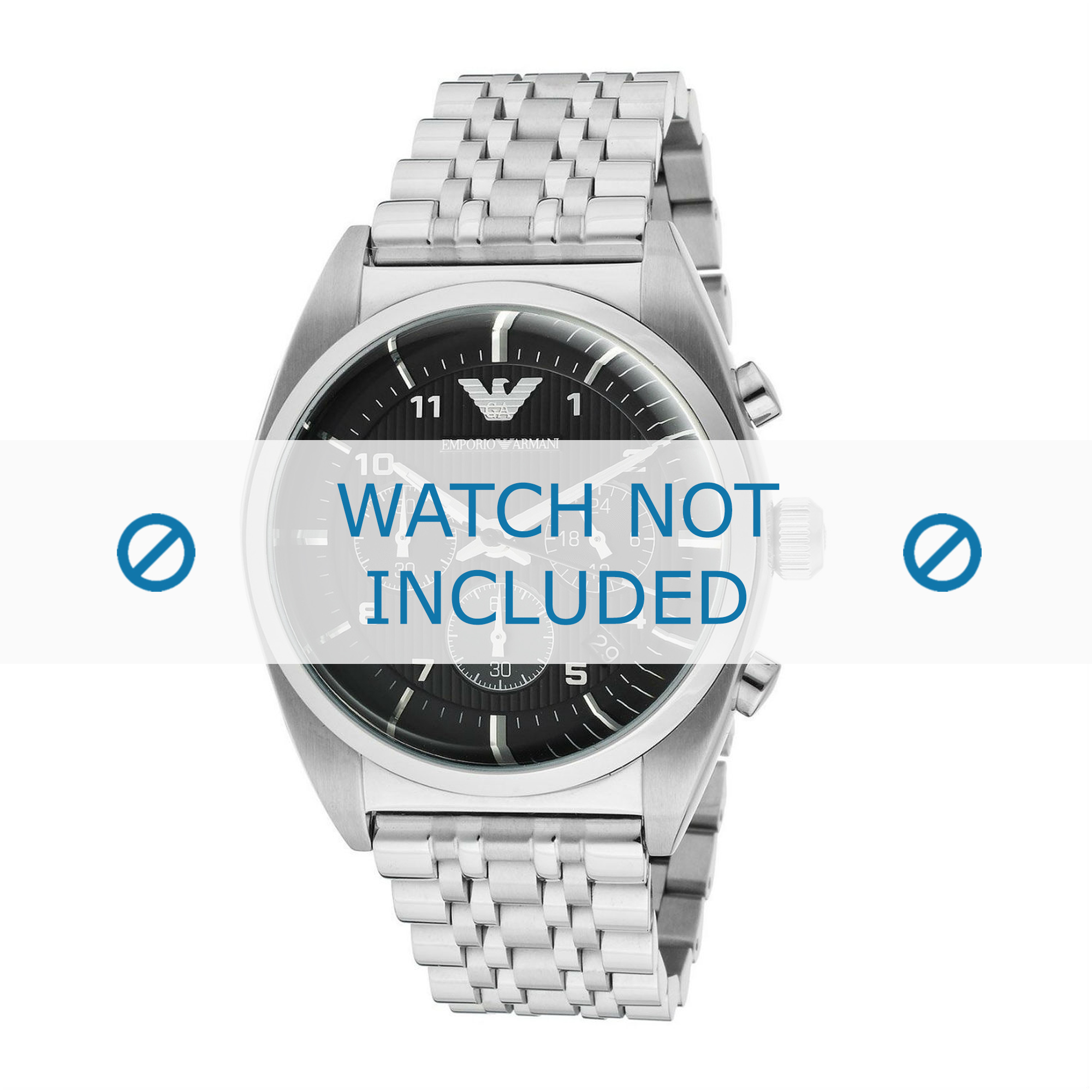 Armani klockarmband AR0373 Rostfritt stål Ilverfärgad 22mm