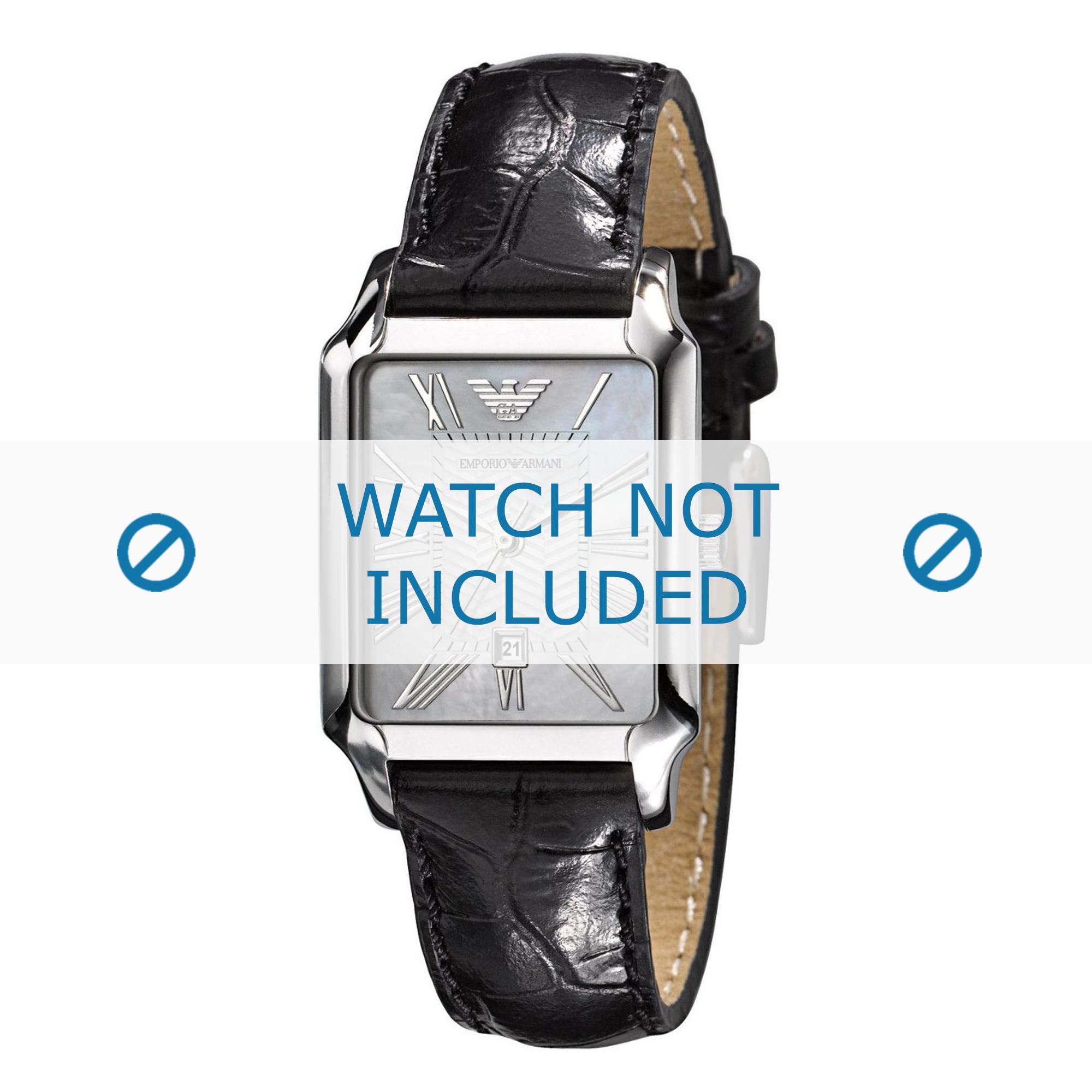 Armani klockarmband AR0413 Läder Svart 16mm + sömmar svart