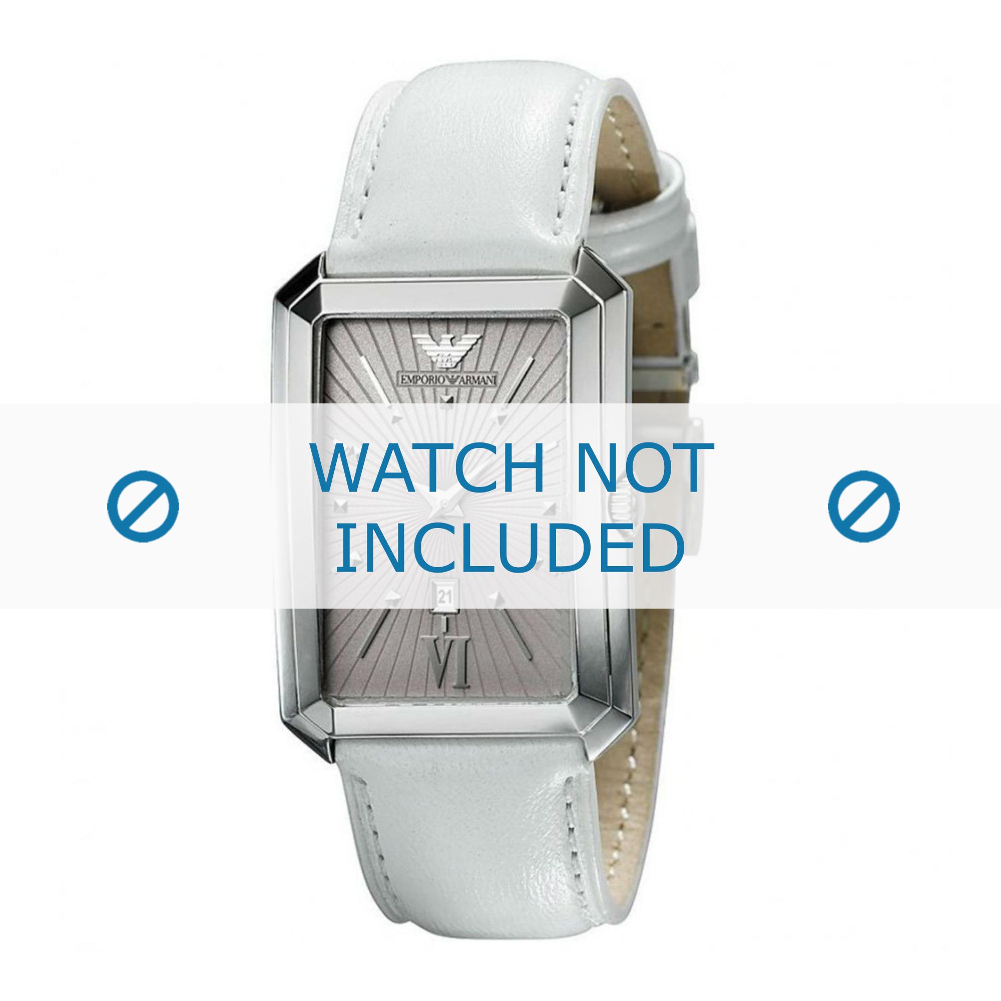 Armani klockarmband AR0461 Läder Vit 20mm + default sömmar