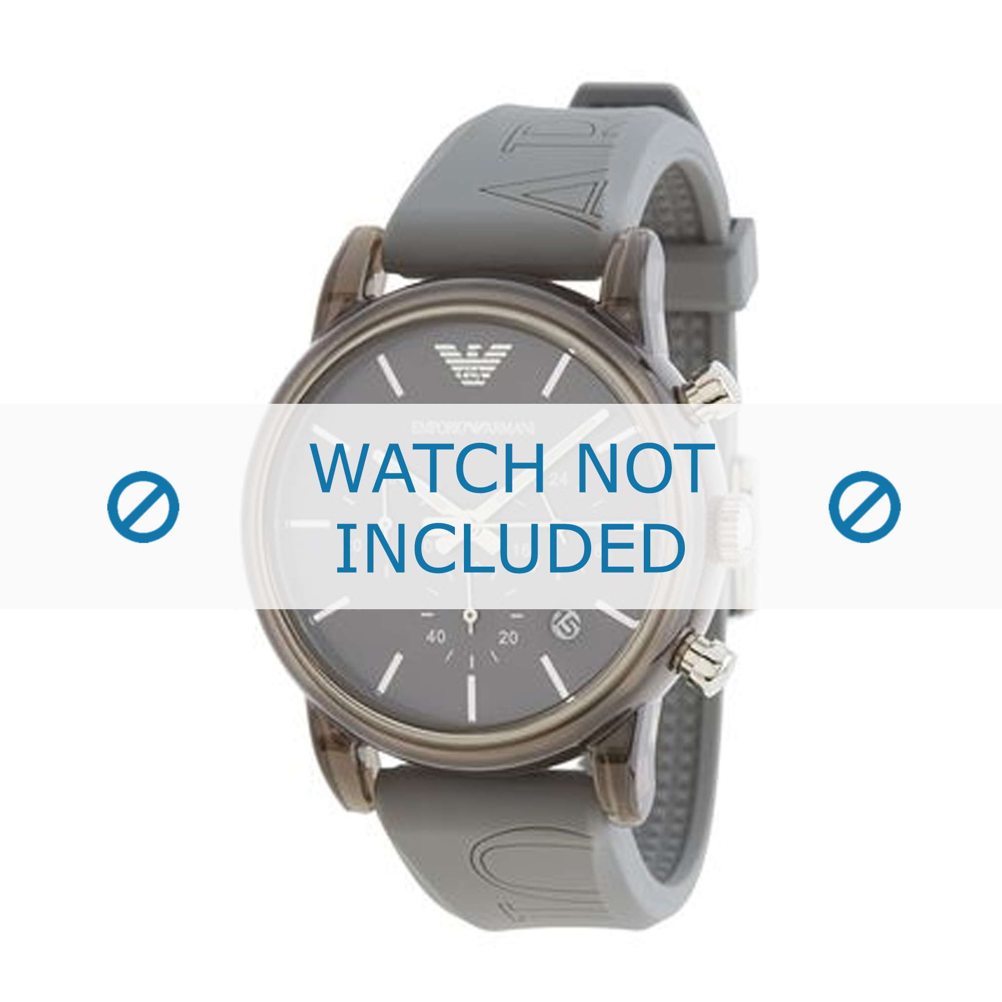 Armani klockarmband AR1055 Silikon Grå 20mm