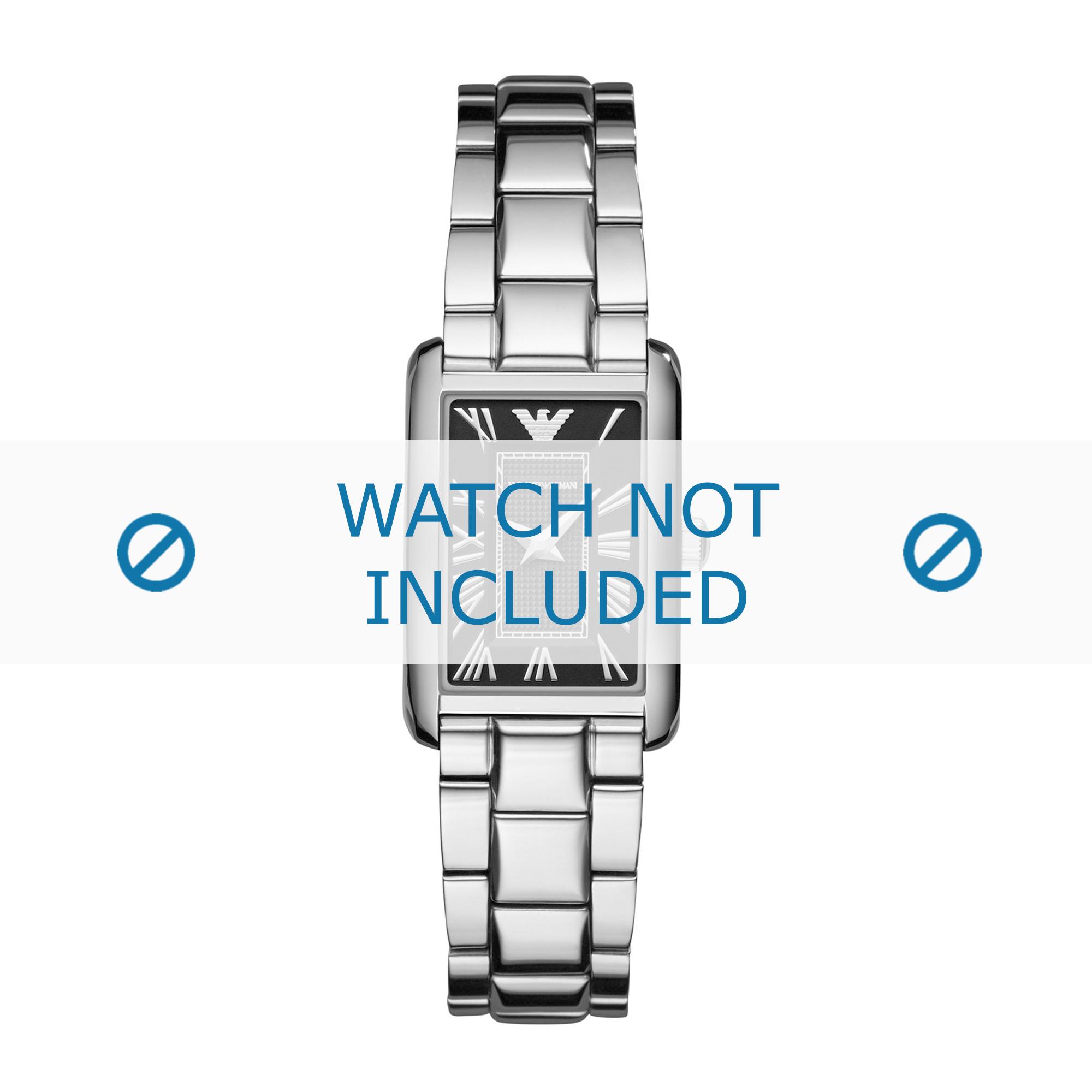 Armani klockarmband AR1738 Rostfritt stål Ilverfärgad 15mm
