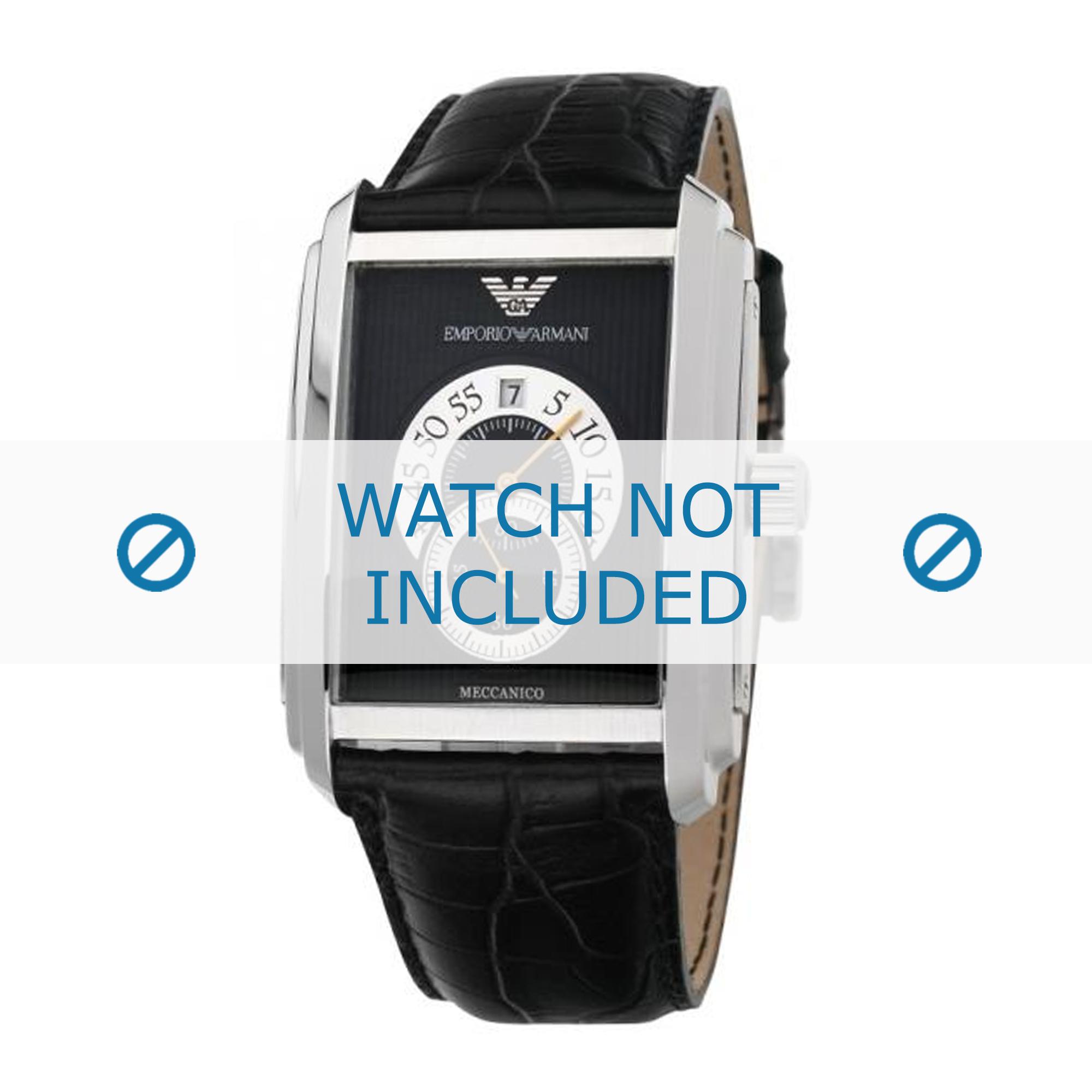 Armani klockarmband AR4200 Läder Svart 26mm + sömmar svart