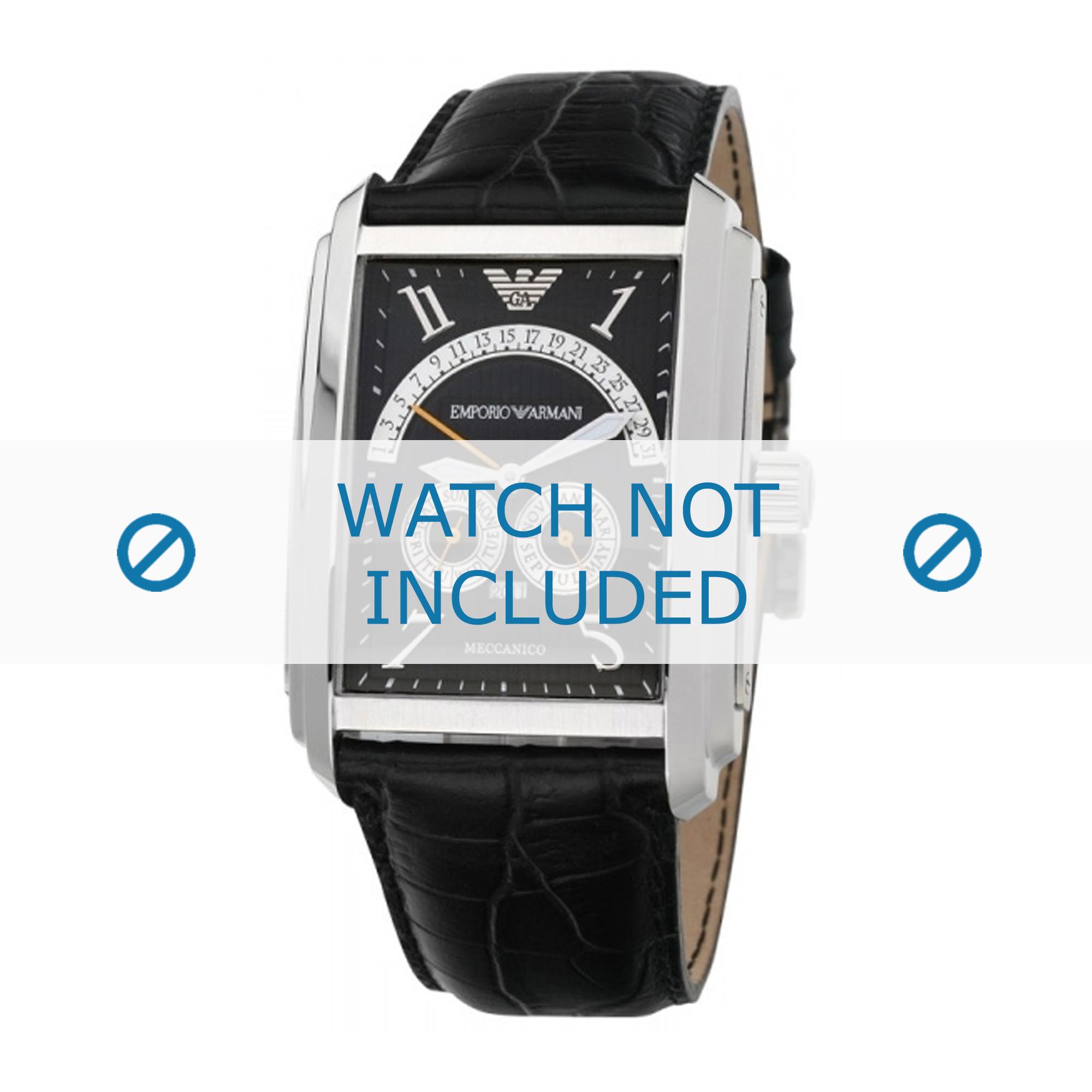 Armani klockarmband AR4204 Läder Svart 26mm + sömmar svart