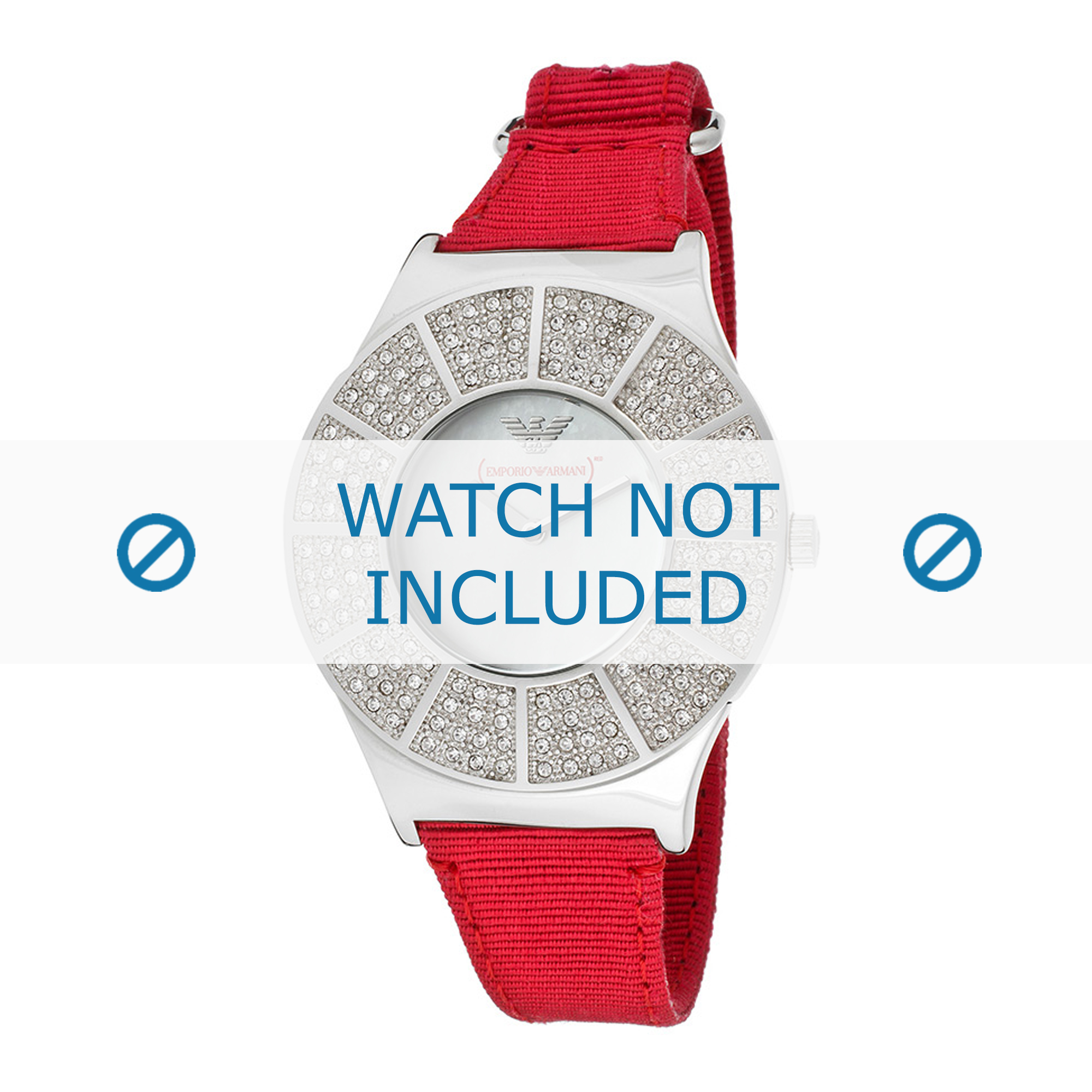 Armani klockarmband AR5754 Textil Röd 18mm + sömmar rött