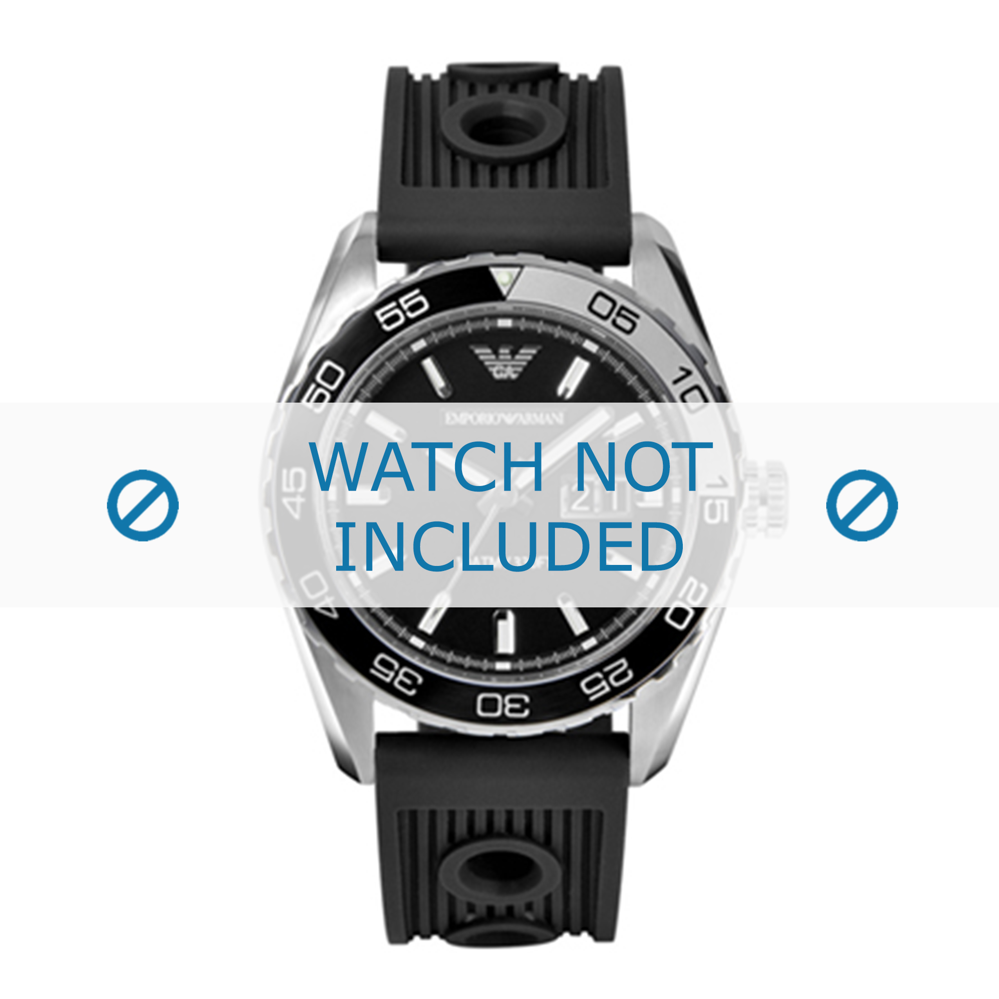 Armani klockarmband AR6044 Silikon Svart 24mm