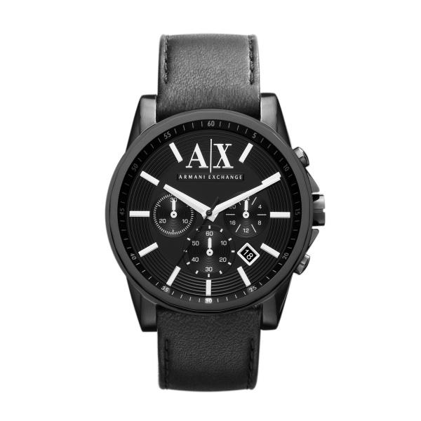 Armani Exchange klockarmband AX2098 Läder Svart 22mm + sömmar svart