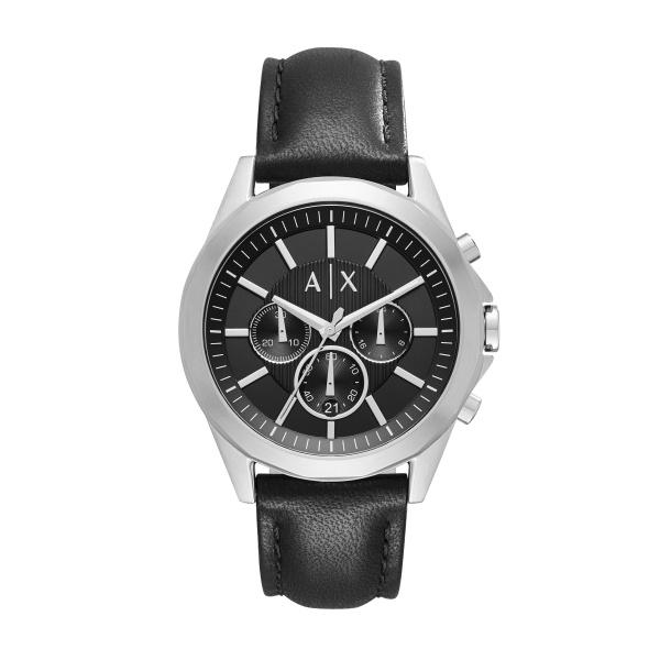Armani Exchange klockarmband AX2604 Läder Svart 22mm + sömmar svart