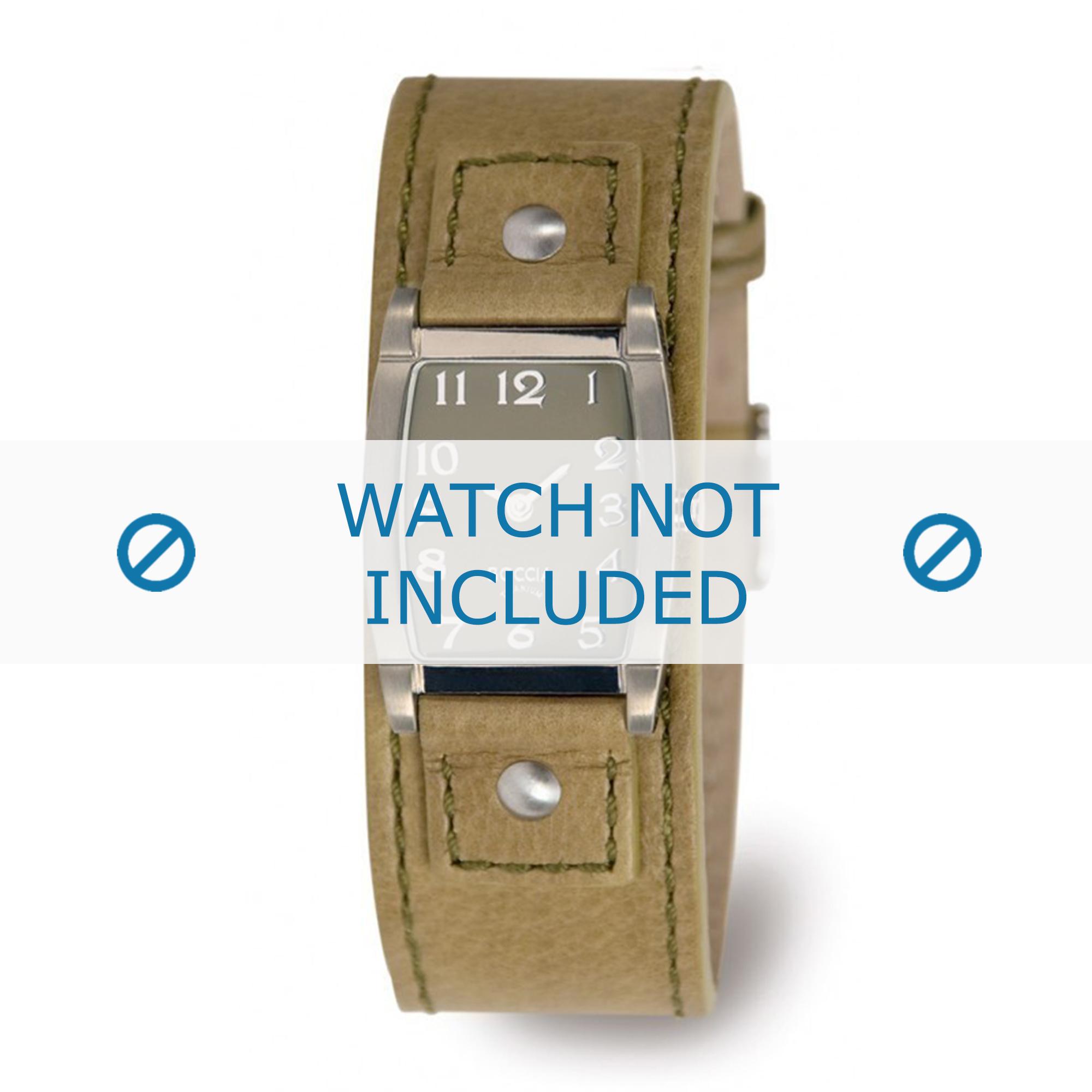 Boccia klockarmband 3147-09-BO3147-09-40 Läder Grön 25mm + sömmar grön