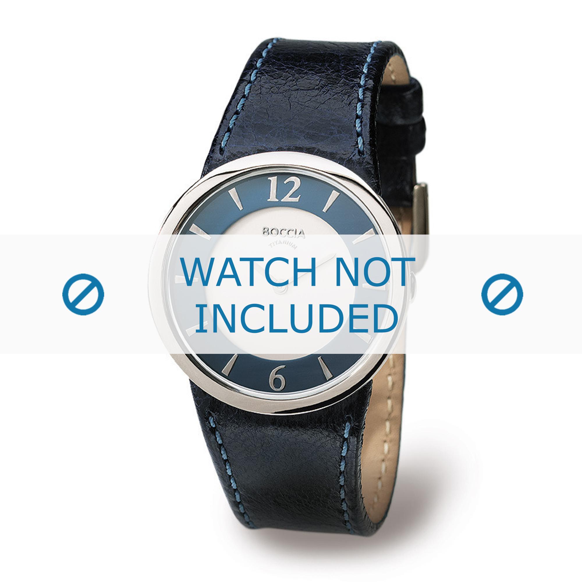 Boccia klockarmband 3161-12-BO3161-12-40 Läder Blå 26mm + sömmar blå