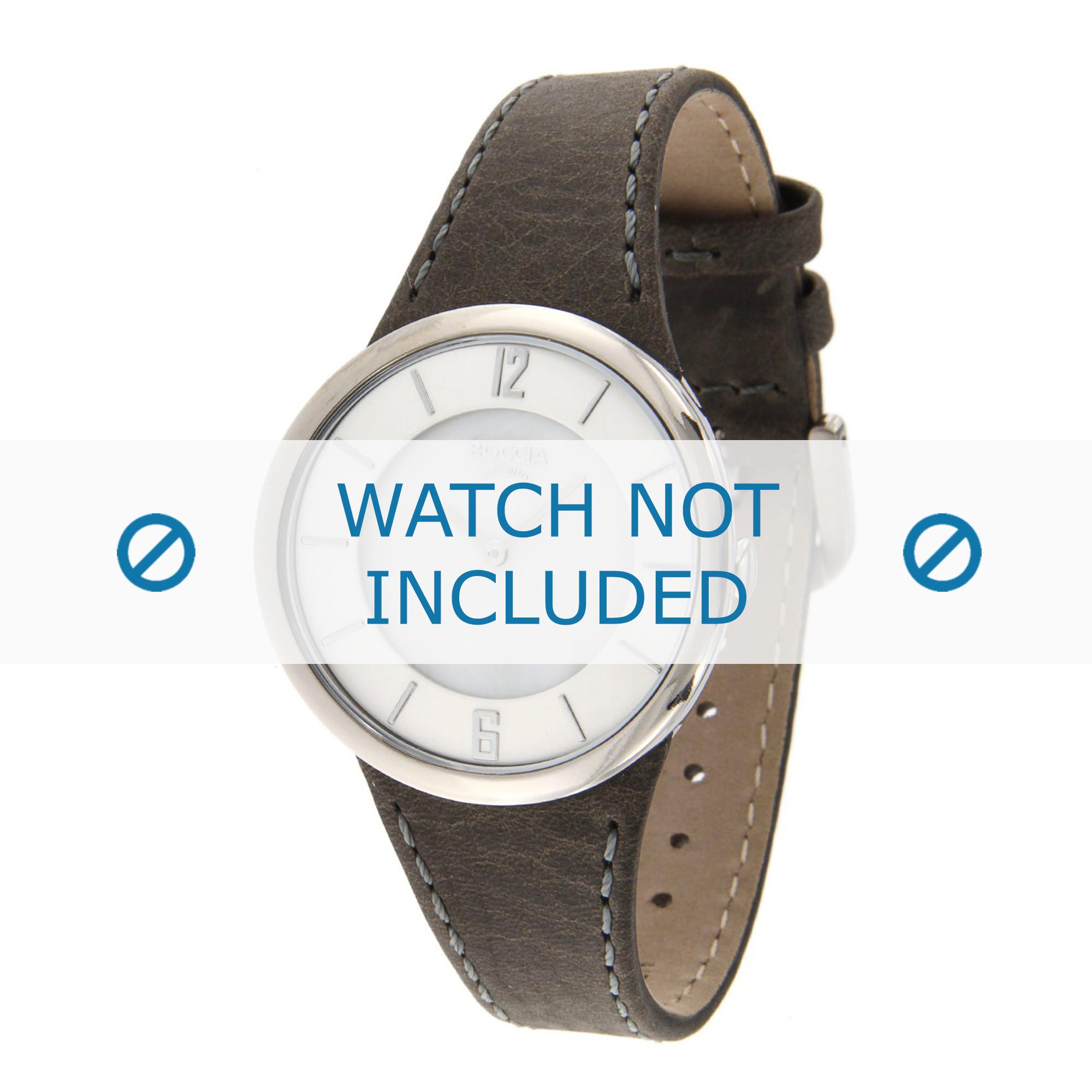 Boccia klockarmband 3161-13-BO3161-13-40 Läder Grå 24mm + sömmar grå