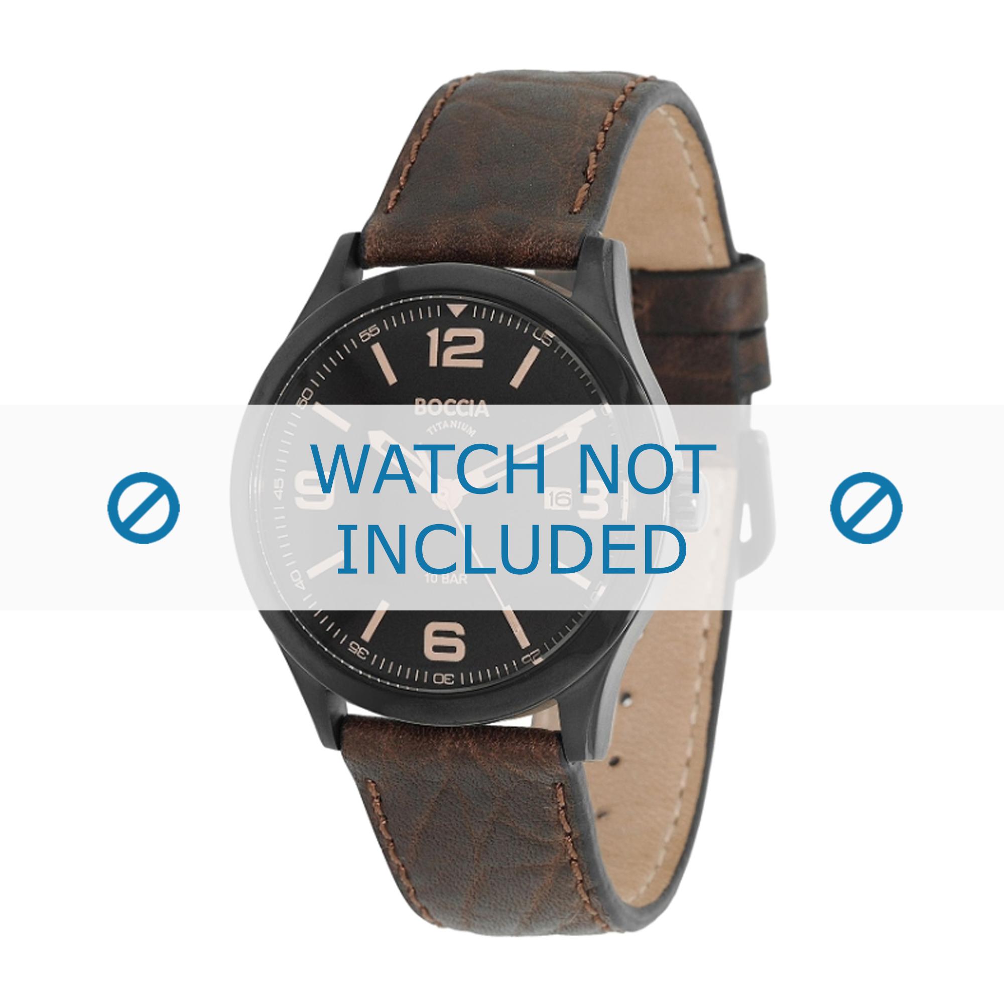 Boccia klockarmband 3583-02 Läder Brun + sömmar brun