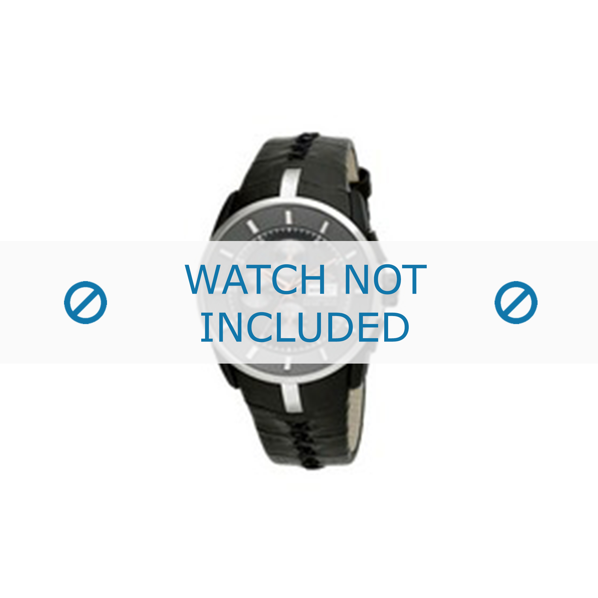 Breil klockarmband BW0487 Läder Svart + sömmar svart