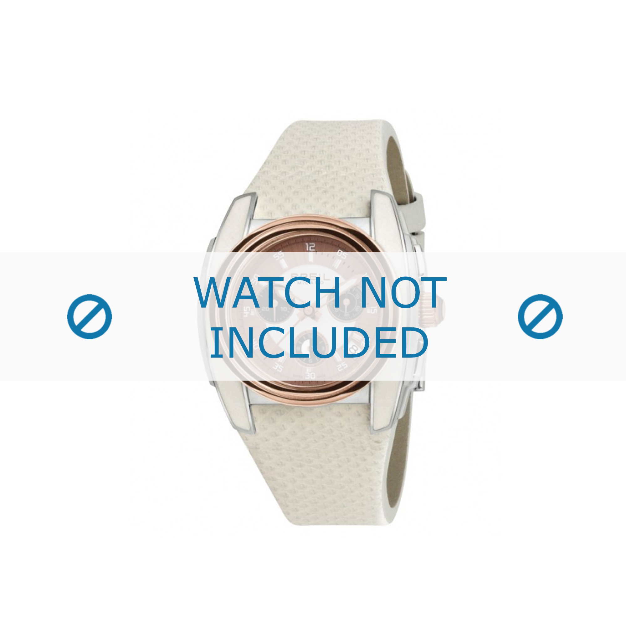 Breil klockarmband BW0383 / F260053231 / BW0384 Läder Vit 25mm