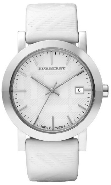 Klockarmband Burberry BU1796 Läder Vit 21mm