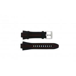 Seiko klockarmband 7L22-0AD0 Läder Svart 15mm + sömmar orange