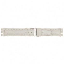 Klockarmband alternativ som är lämpligt för Swatch 247.20M Läder Vit 19mm