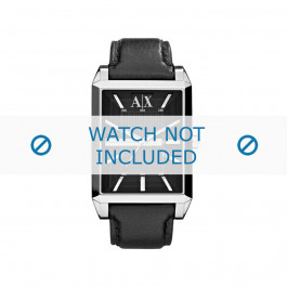 Klockarmband Armani AX2113 Läder Svart 24mm