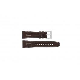 Seiko klockarmband 5D44-0AE0 / SRH011P1 Läder Brun 26mm + sömmar vitt