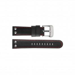 TW Steel klockarmband TWB411L Läder Svart 24mm + sömmar rött