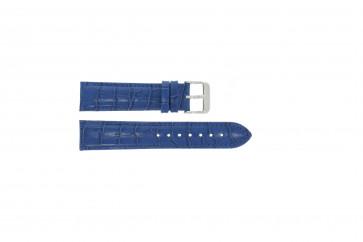 Klockarmband i äkta läder krokodilmönstrat blått 22mm PVK-285