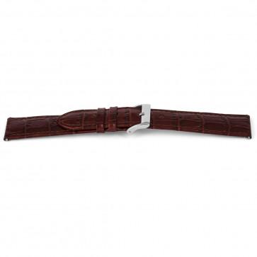 Klockarmband i äkta läder krokodilmönstrat brunt 14mm EX-G62
