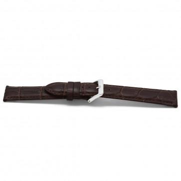 Klockarmband Läder + krokodil tryck 20mm Mörk brun EX G348G